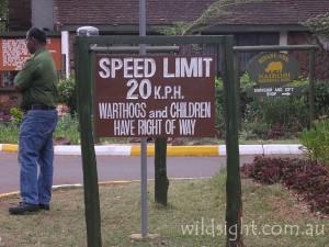Roadsign at entrance to Kifaru Ark Nairobi Nationa Park, Kenya