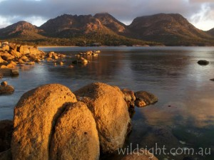 The Hazards at sunset from Richardsons Beach, just below the national parks visitor centre