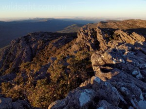 View north to Mount Stapylton from Mount Gar (Mount Difficult) at sunset