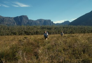 Hiking back from Lake Judd with the cliffs of the Eliza Plateau in the background