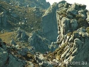 Hikers below Mount Hayes, Western Arthurs