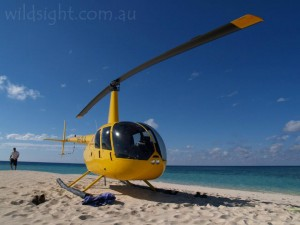 Helicopter on sand cay, Great Barrier Reef
