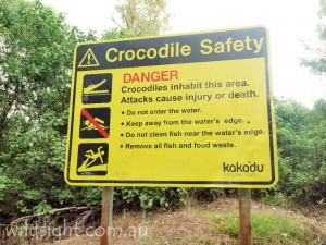 Crocodile warning sign at Cahills Crossing, Kakadu National Park