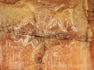 Namarrgon, the lightning man (top right), depicted at Nourlangie Rock, Kakadu