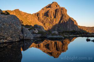 Mount Anne sunrise reflections at Shelf Camp, Eliza Plateau, South-West National Park Tasmania
