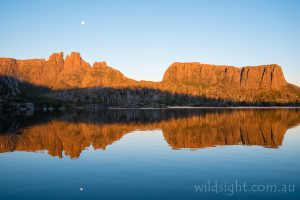Mount Geryon and the Acropolis reflected in Lake Elysia