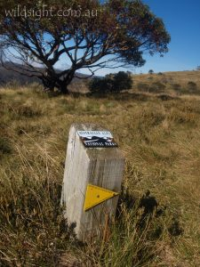 Australian Alps Walking Track sign, Alpine National Park Victoria