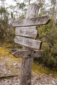 Overland Track sign, Cradle Mountain-Lake St Clair National Park Tasmania