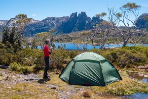 Lake Elysia campsite on the Labyrinth, Cradle Mountain-Lake St Clair National Park Tasmania